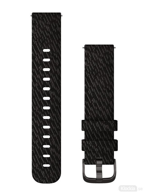 Garmin 20mm Svartpepparfärgat nylonband med skiffergrå detaljer