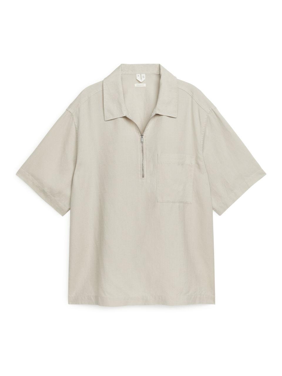Half-Zip Short-Sleeved Shirt - Beige