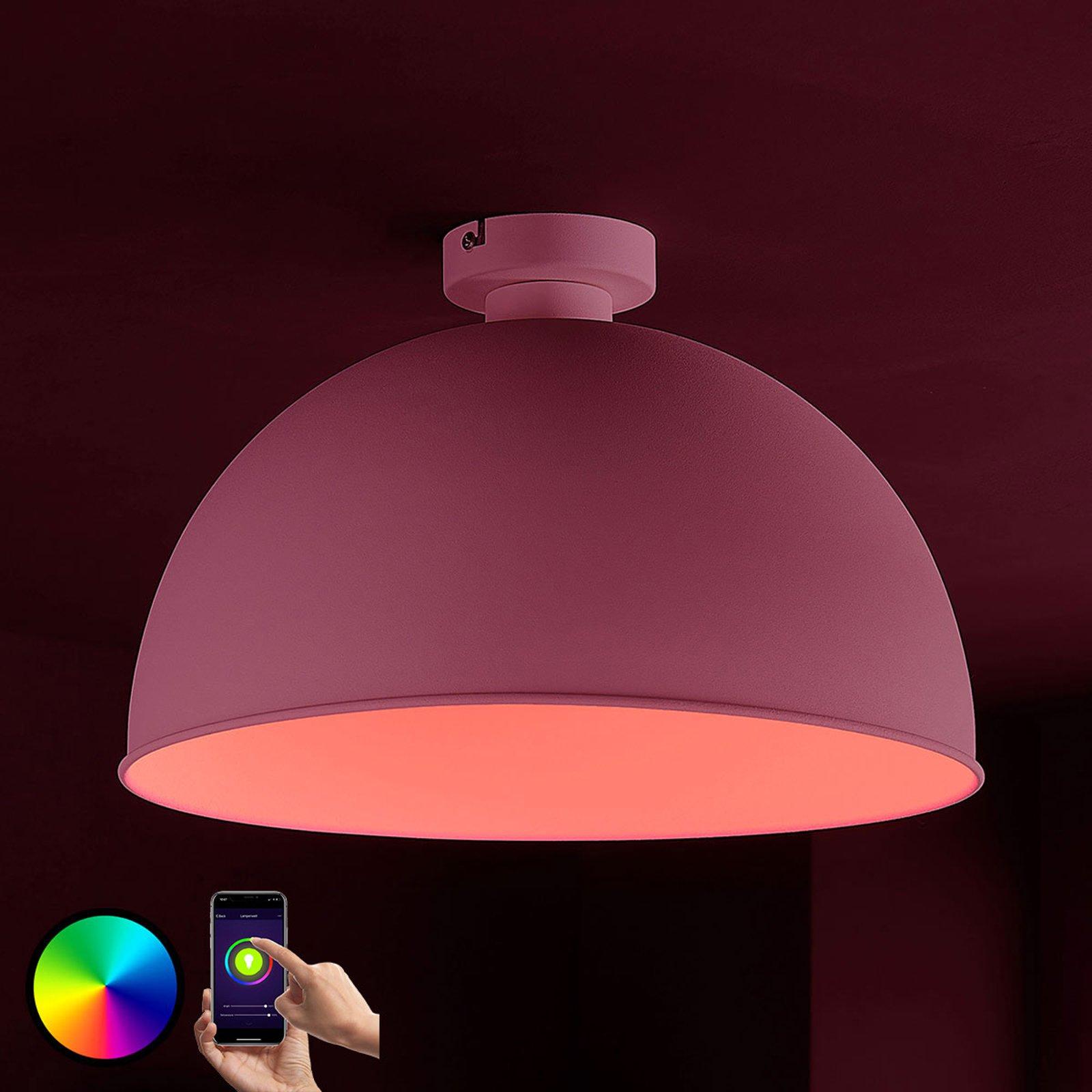 Lindby Smart LED-taklampe Bowl 41 cm sølv