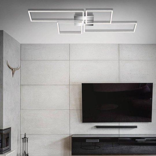 LED-taklampe Frame CCT, kromaluminium, 110 x 54 cm