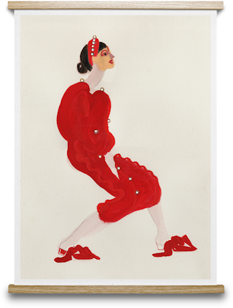 Red With Pearls Poster 30x40 cm