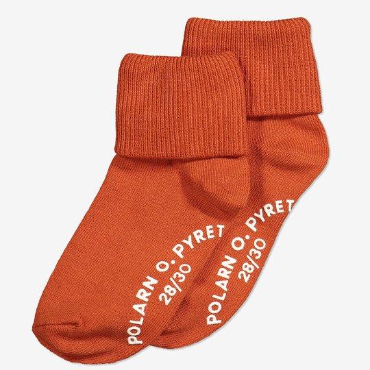2-pakning sokker med sklisikring. terrakotta