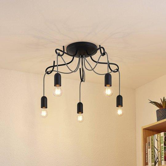 Lucande Jorna taklampe, 5 lyskilder, kabelgrå