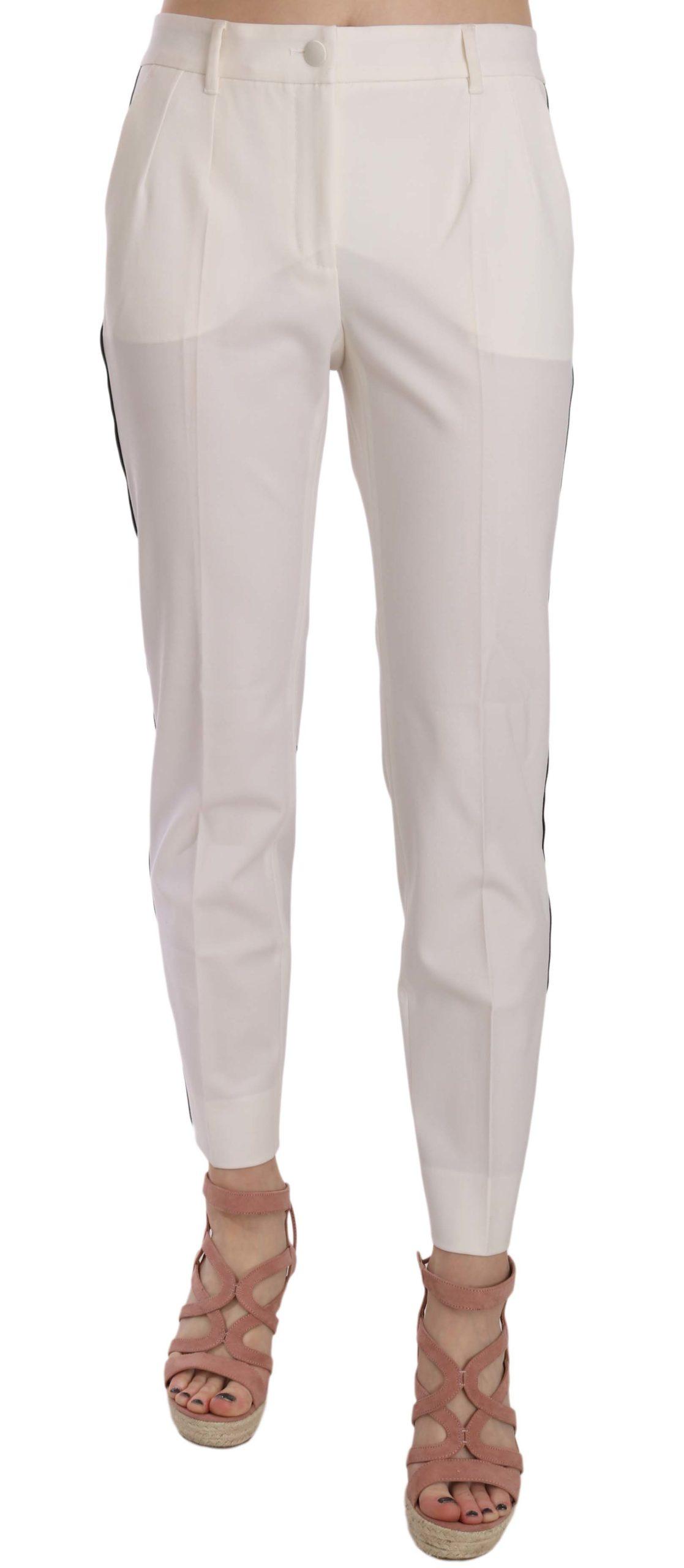 Dolce & Gabbana Women's Side Stripe Wool Tapered Trouser White PAN70013 - IT42|M