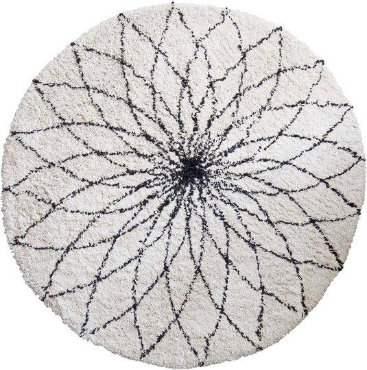 KidsDepot Flower Power Gulvteppe, White/Black
