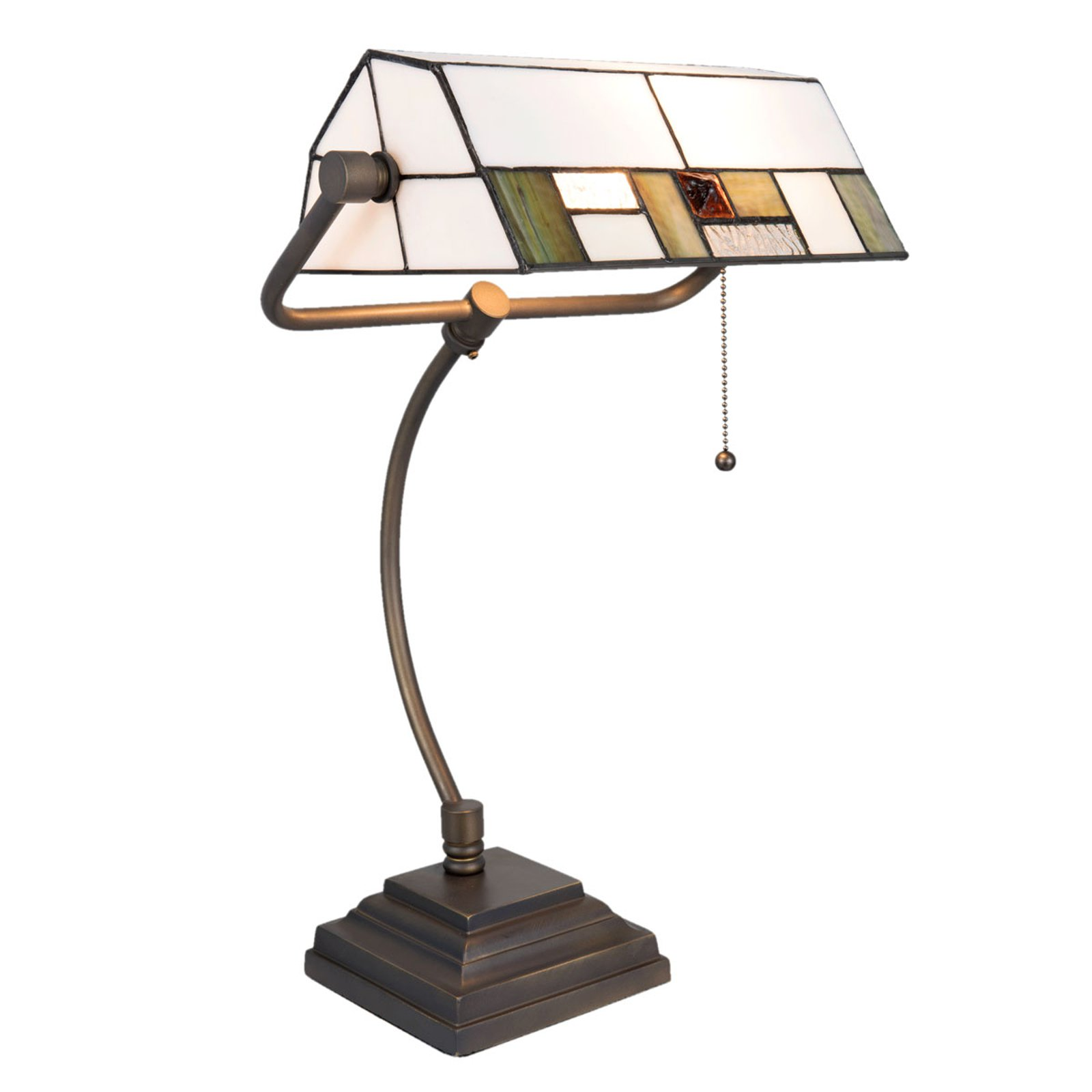 5194 skrivebordslampe med hvit-grønn glasskjerm