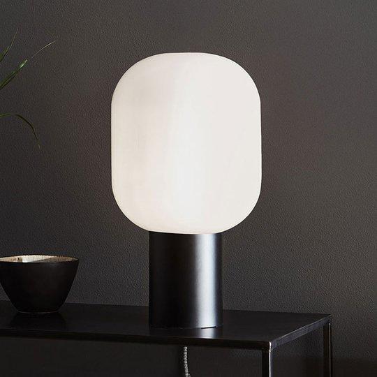 Bordlampe Brooklyn, glass-skjerm opalhvit, 44 cm
