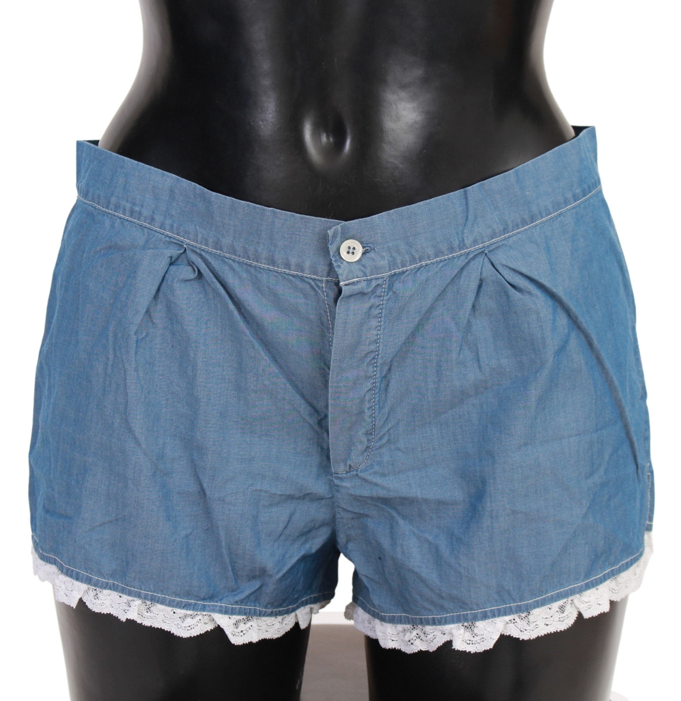Ermanno Scervino Women's Cotton Denim Blue Lace Shorts Underwear - IT2   S