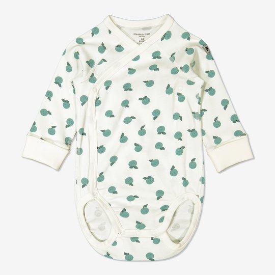 Omslagsbody med epleprint baby hvit