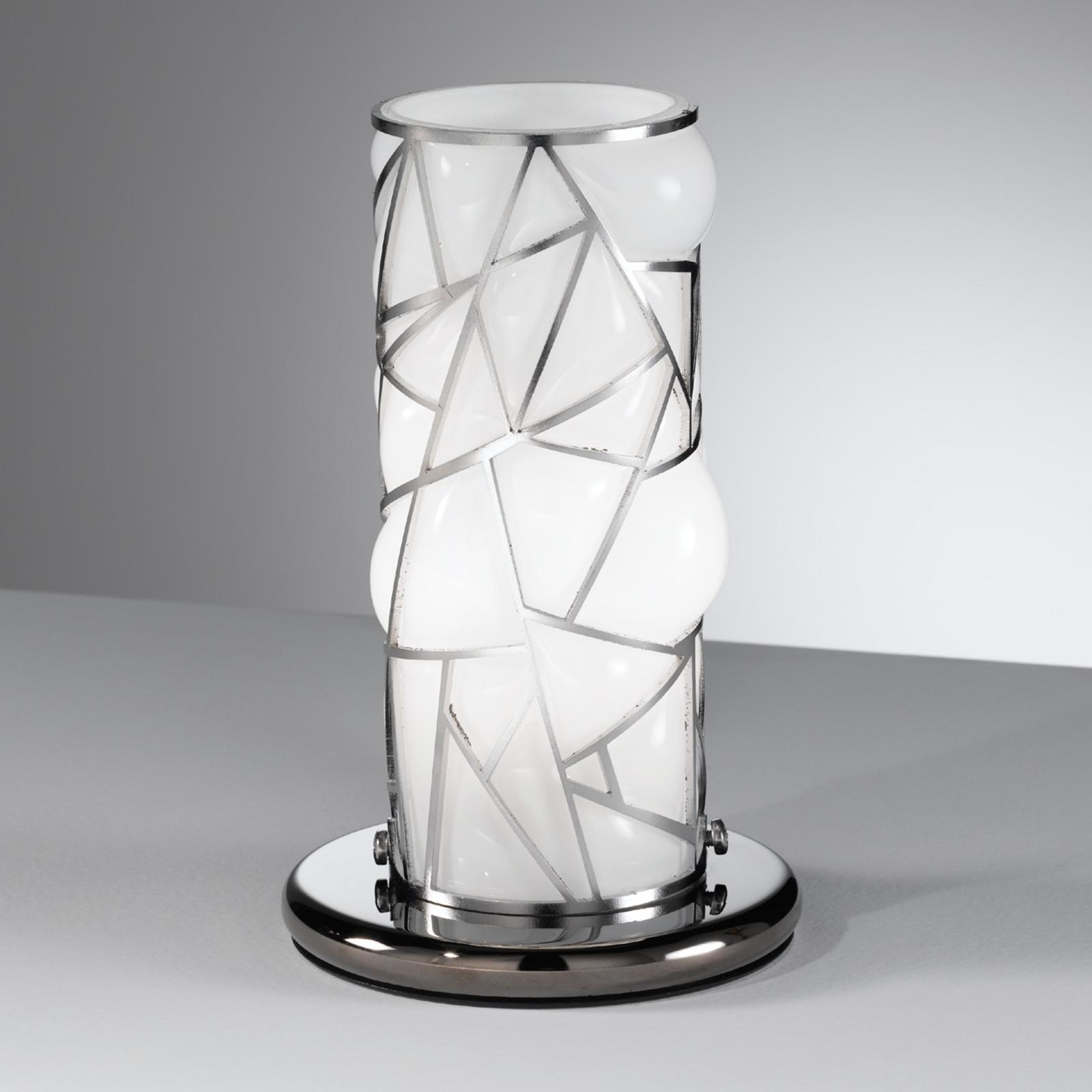 Orione-pöytävalaisin teräselementeillä, valkoinen