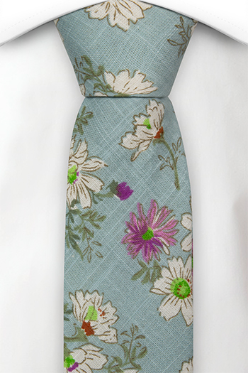 Bomull Gutteslips, Hvite & lilla blomster på turkis