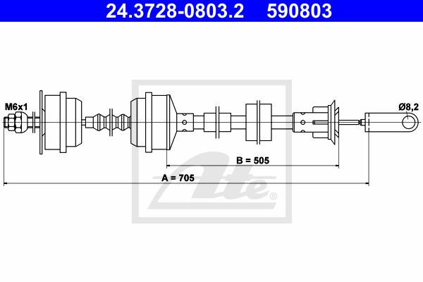 Kytkinvaijeri ATE 24.3728-0803.2