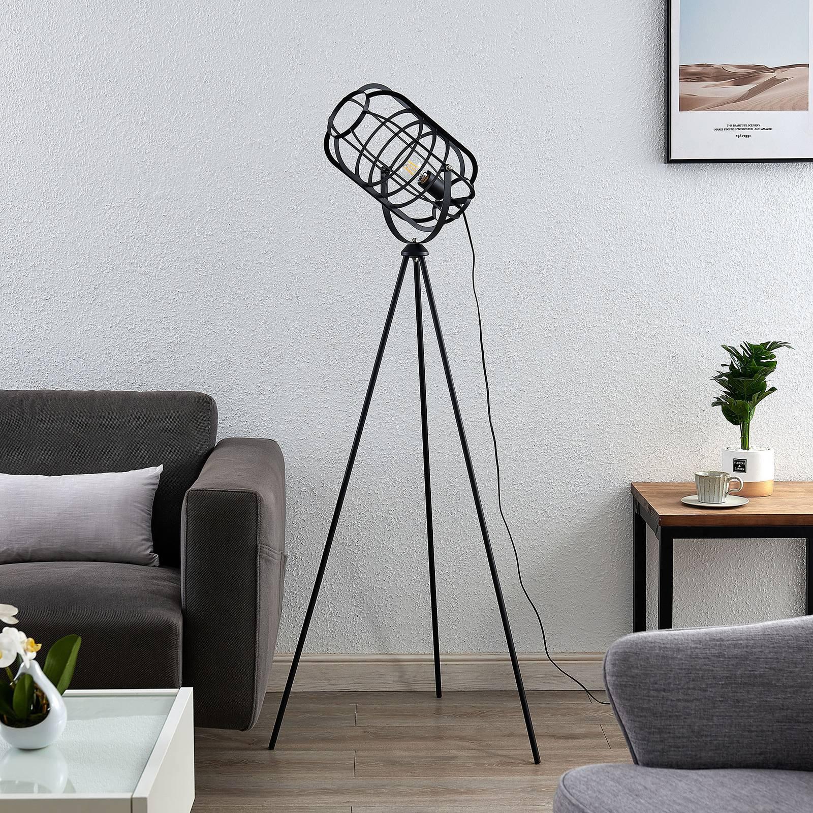 Lindby Keara gulvlampe, 3 bein med burskjerm