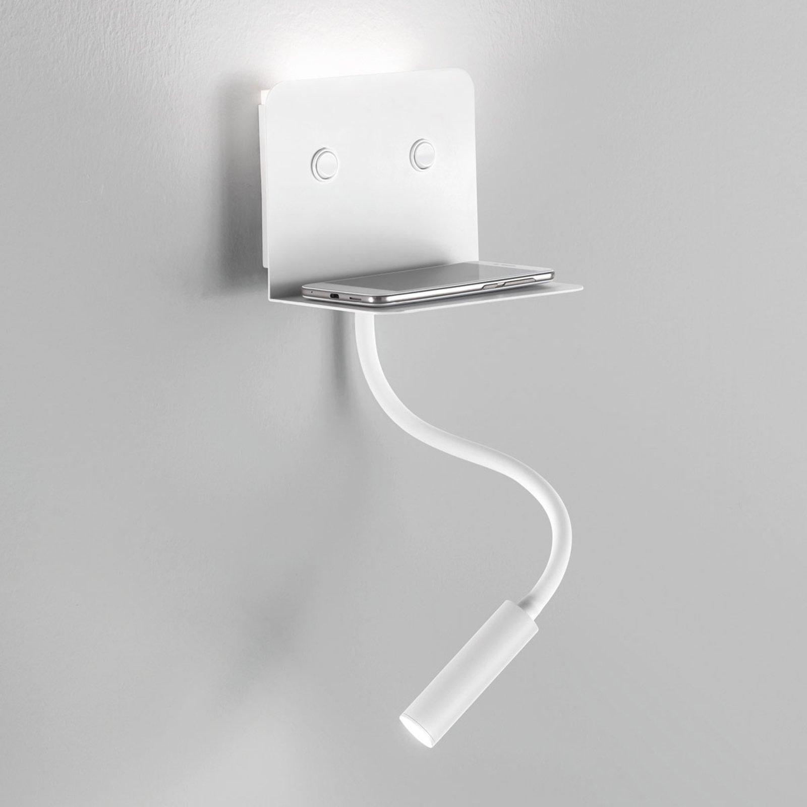 LED-vegglampe Level med skuff og leselys