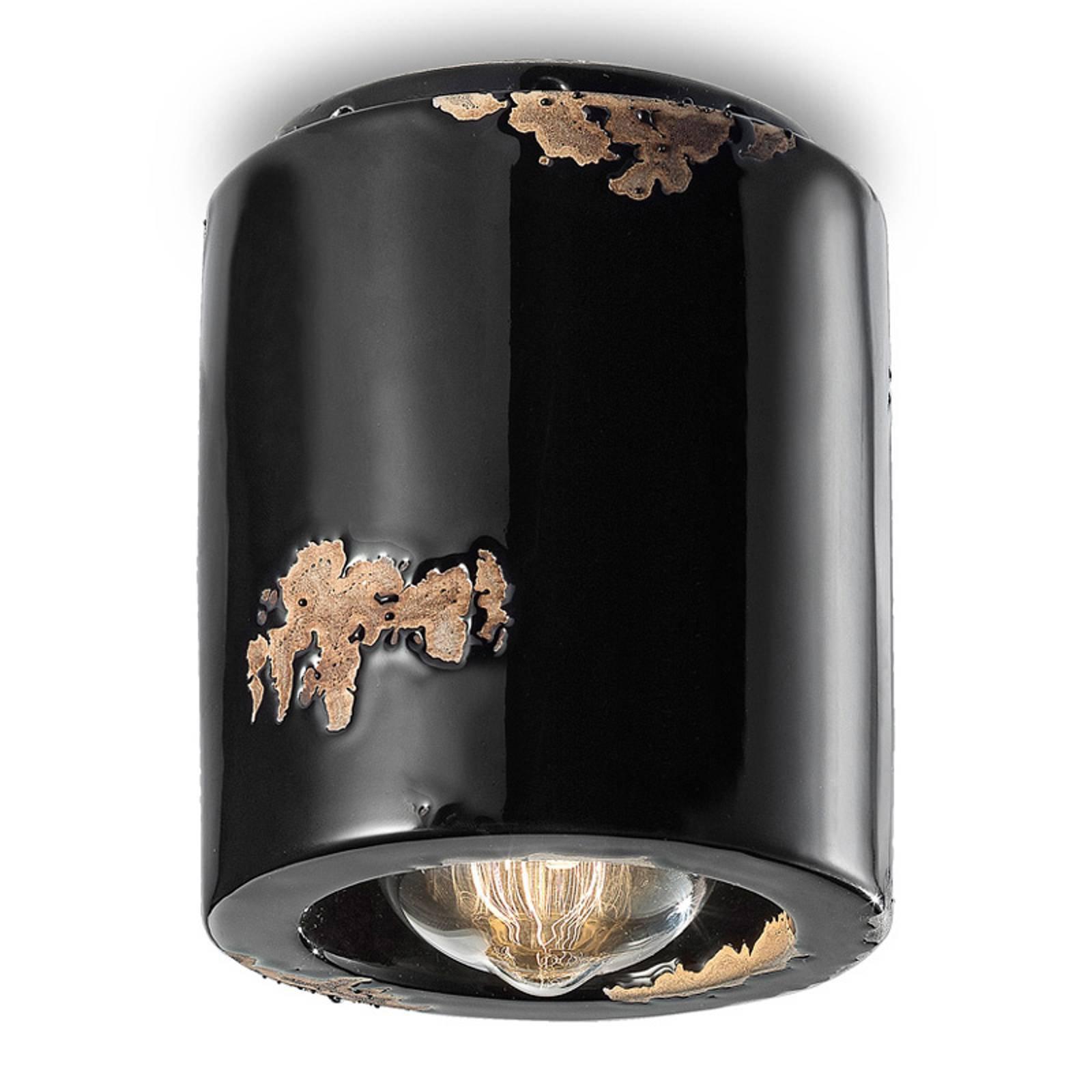 Taklampe C986 i vintage-stil, svart
