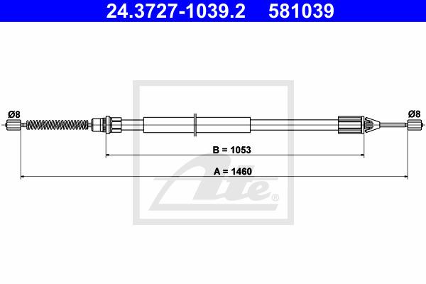 Käsijarruvaijeri ATE 24.3727-1039.2