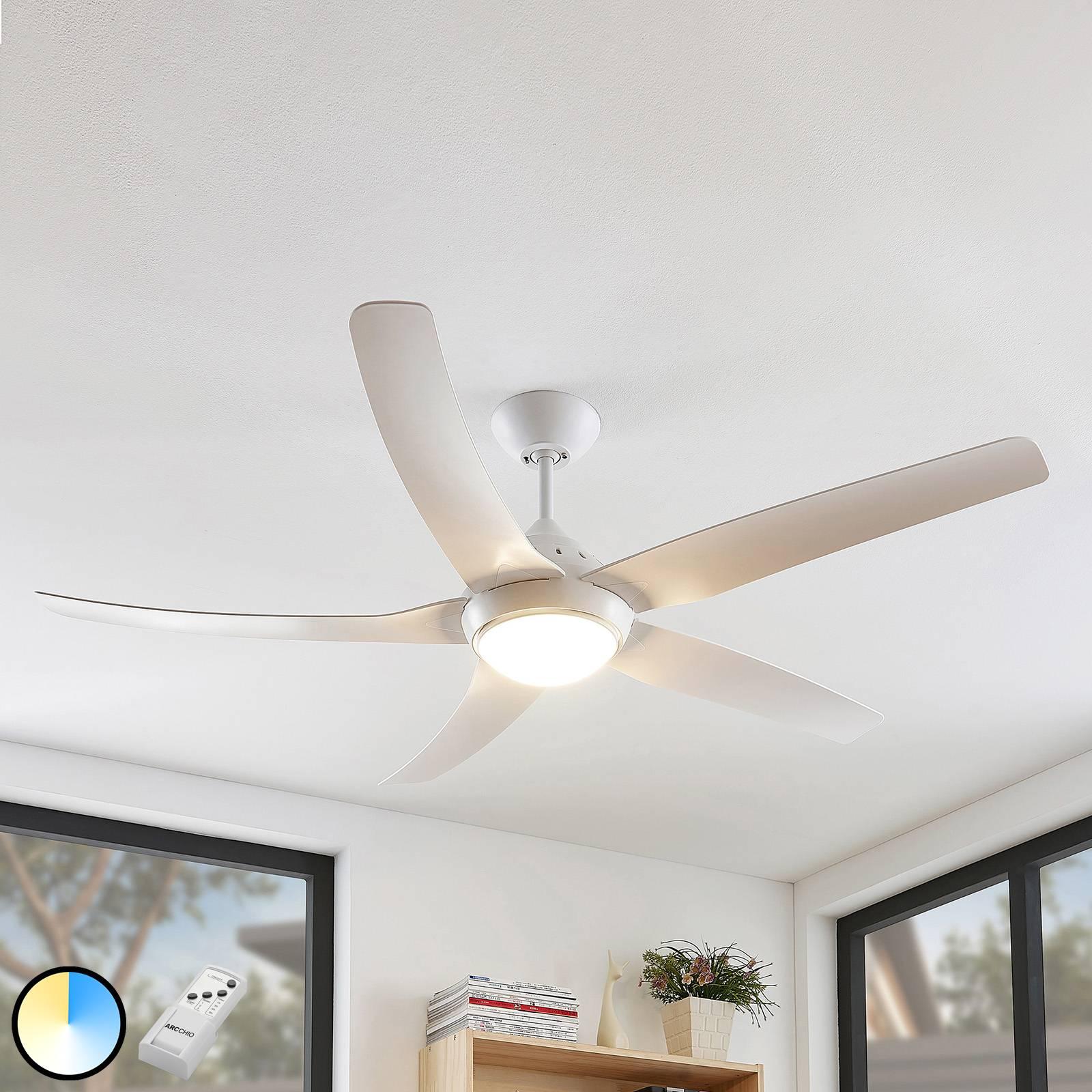 Arcchio Dora-LED-kattotuuletin, valkoinen 5 siipeä