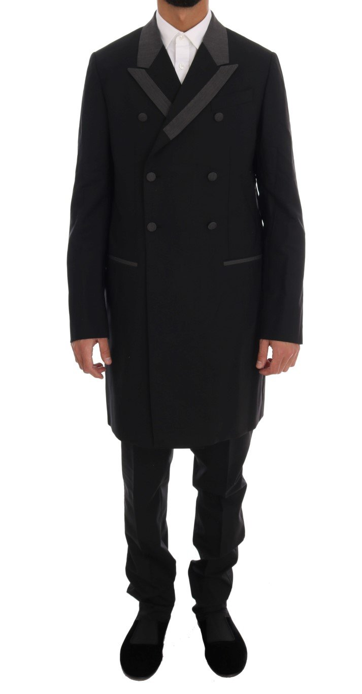 Dolce & Gabbana Men's Wool Stretch 3 Piece Two Button Suit Black KOS1115 - IT48   M