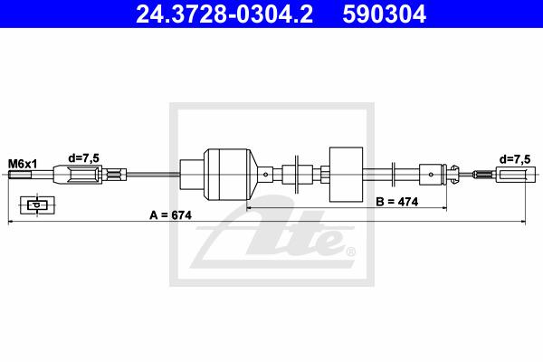 Kytkinvaijeri ATE 24.3728-0304.2