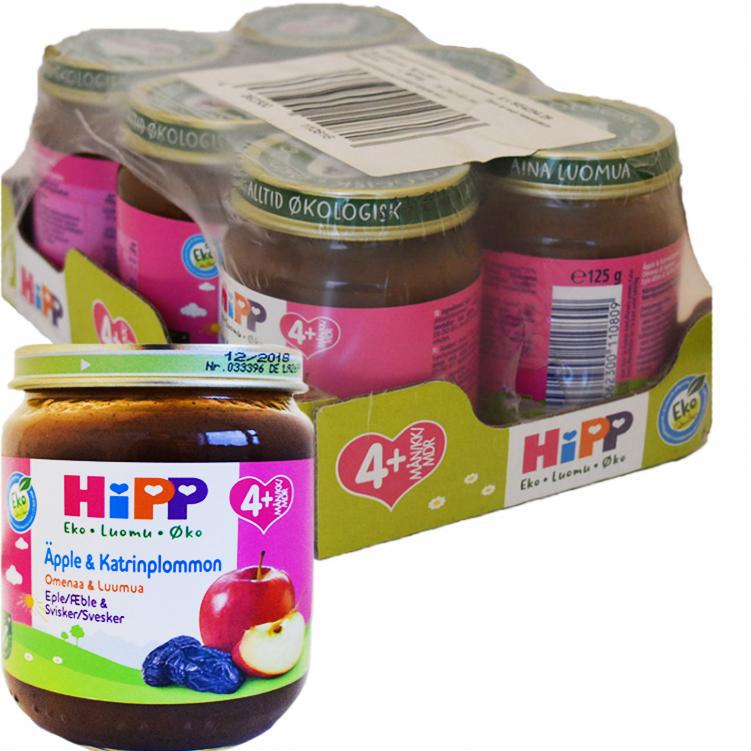 """Laatikollinen Luomu Lastenruokaa """"Omenaa & Luumua"""" 6 x 125 g - 56% alennus"""
