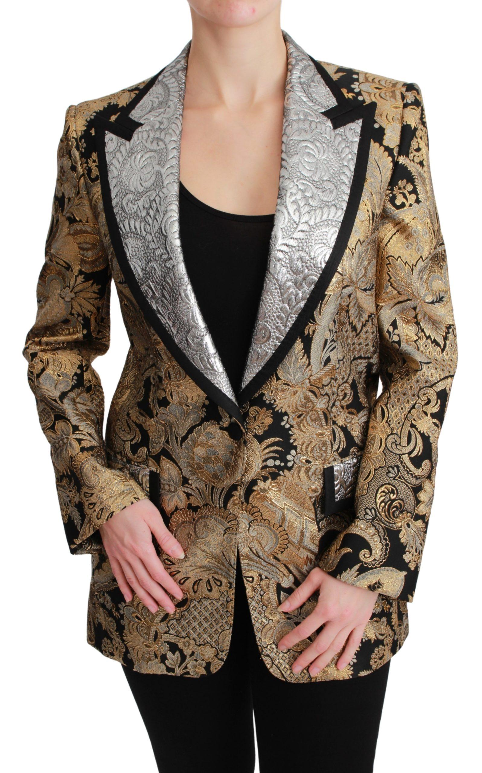 Black Gold Jacquard Blazer Jacket - IT36   XS