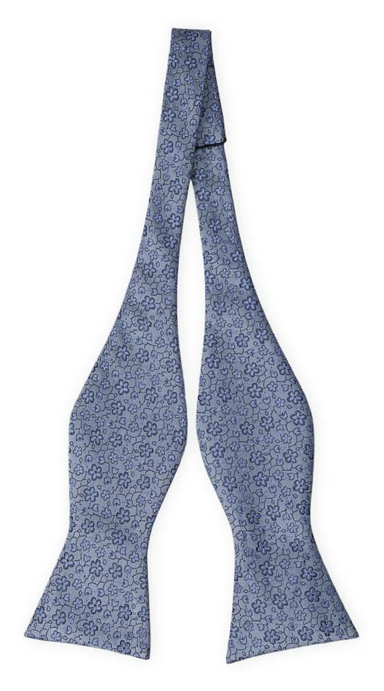 Silke Sløyfer Uknyttede, Støvblått med små, medium blå blomster