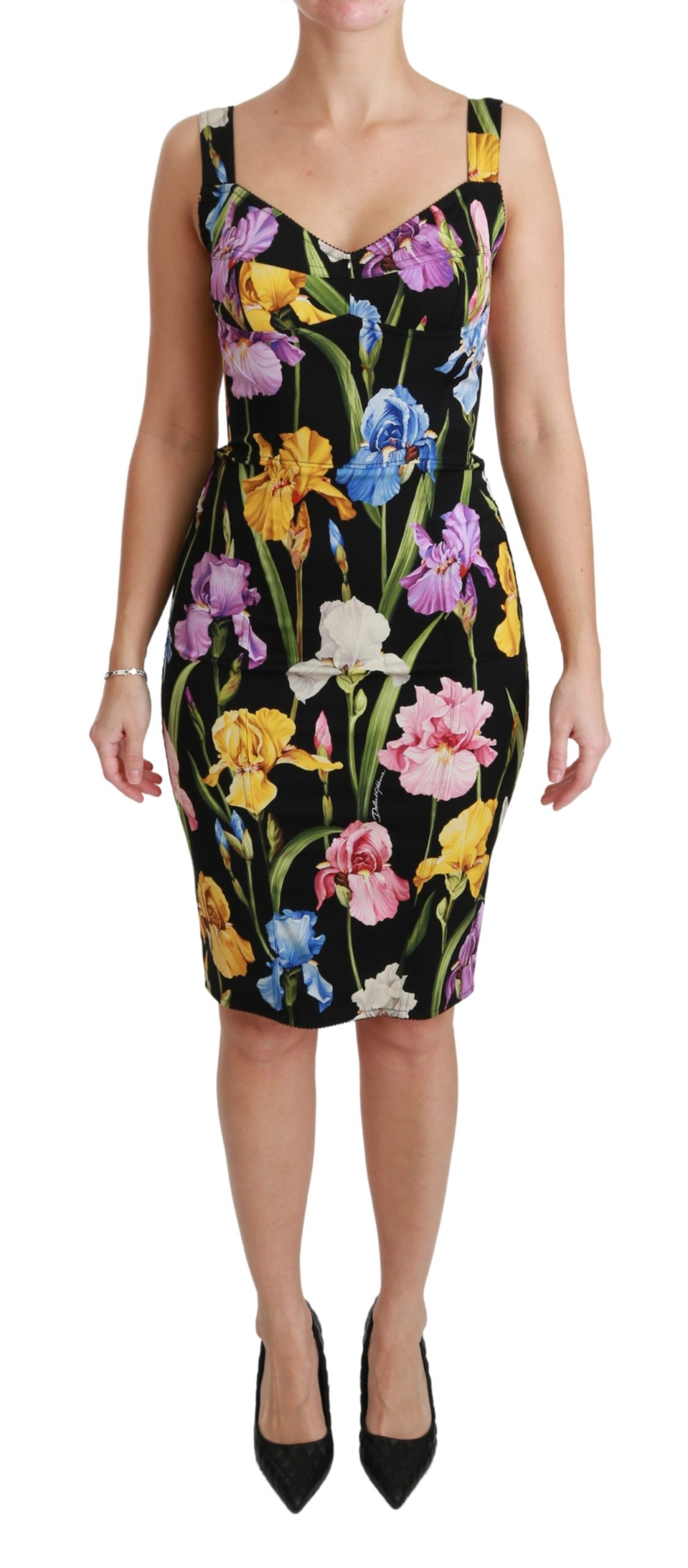 Dolce & Gabbana Women's Iris Print Silk Stretch Dress Black DR2452 - IT40|S