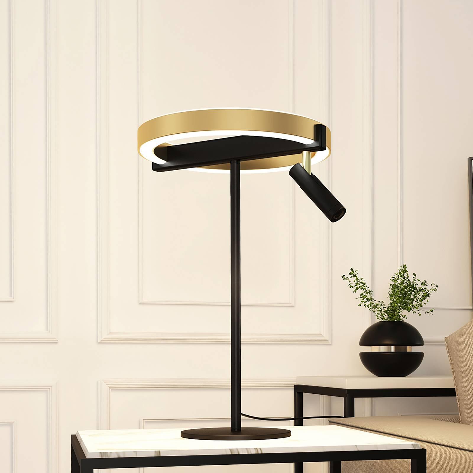 Lucande Matwei -LED-pöytälamppu, pyöreä, messinki