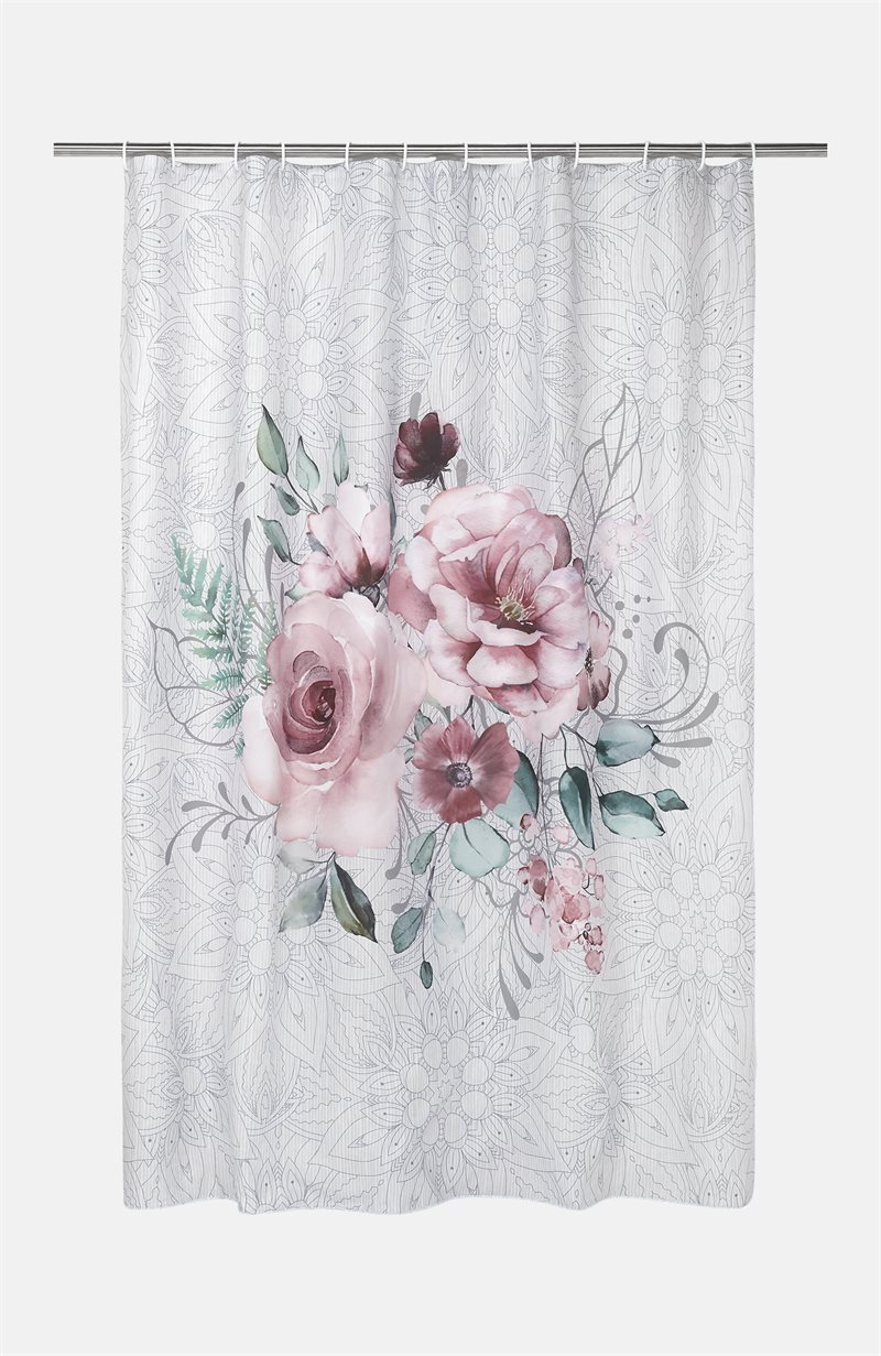Kukkakuvioinen suihkuverho Evelyn, digitaalinen painokuvio