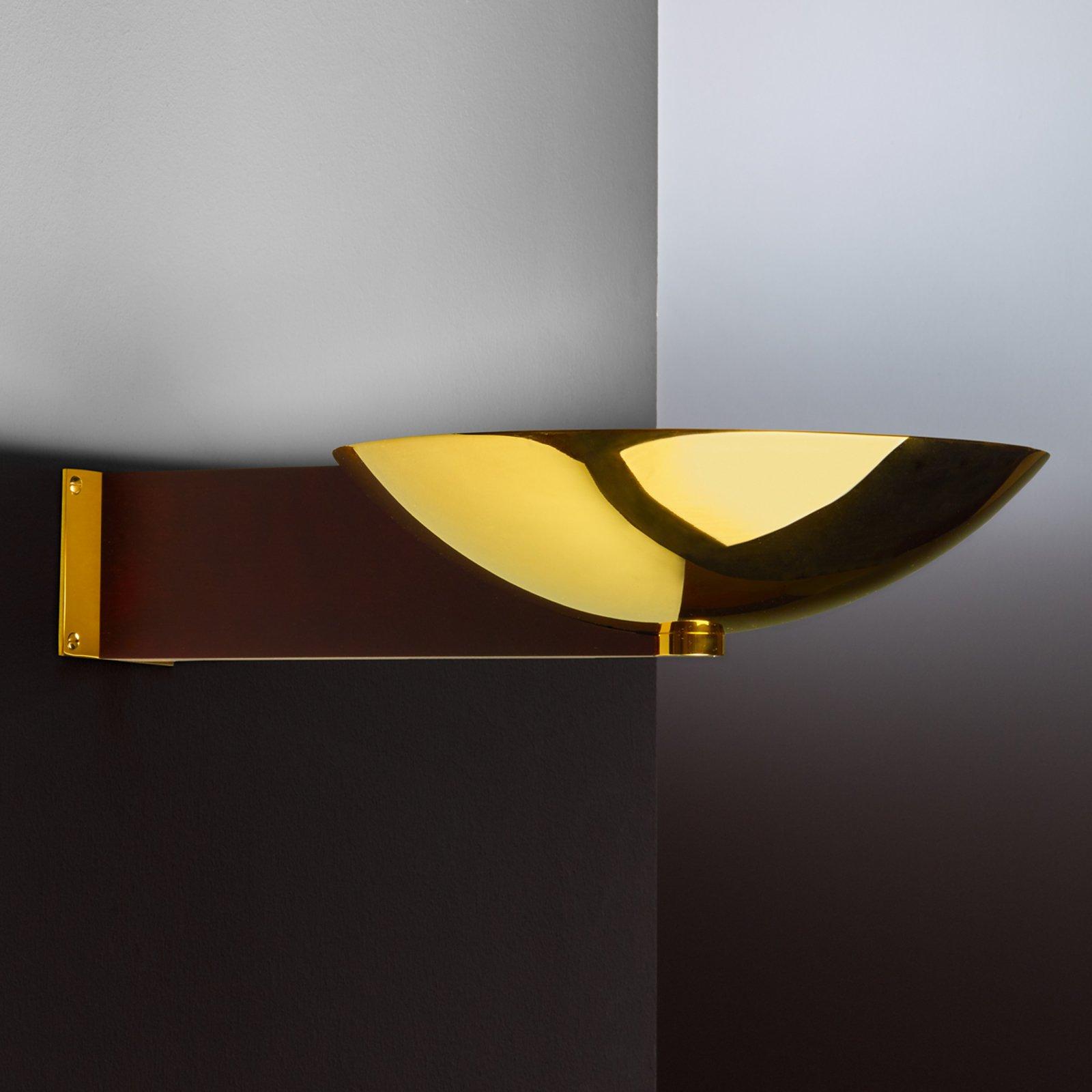 Art Deco-vegglampe med arm messing og mahogni