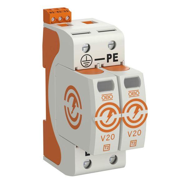 Obo Bettermann 5095282 Ylijännitesuoja tyyppi 2, 230 V, IP20 V20-2+FS-280