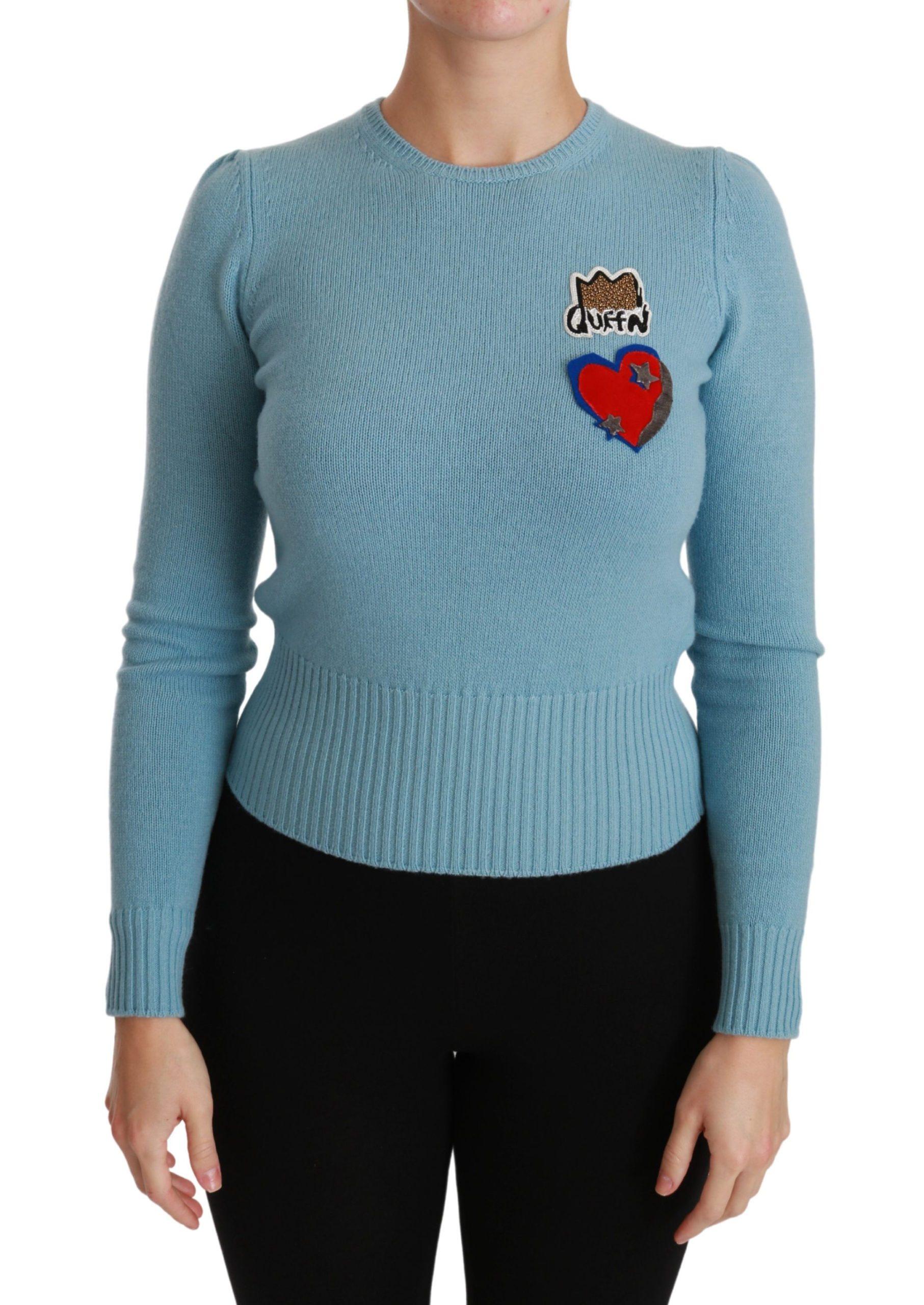 Dolce & Gabbana Women's Wool Queen Heart Pullover Sweater Blue TSH4416 - IT36   XS