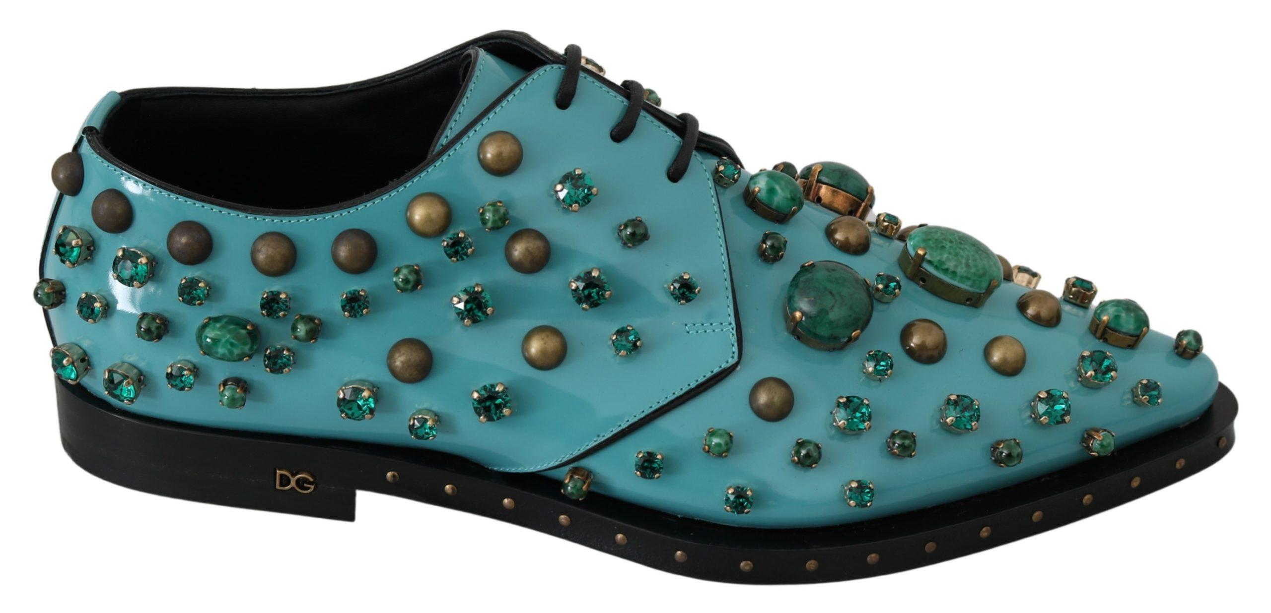 Blue Leather Crystal Dress Broque Shoes - EU39/US8.5