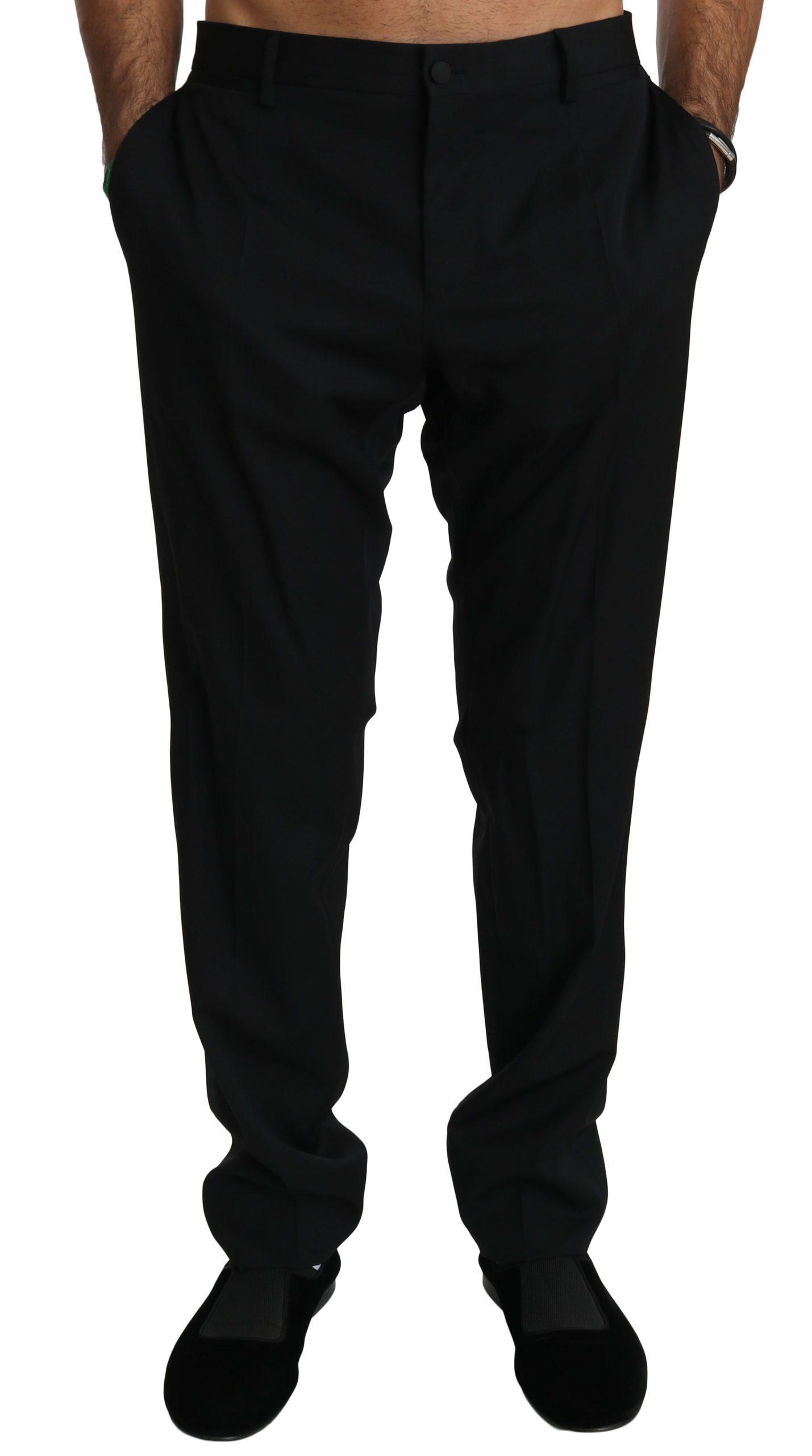 Dolce & Gabbana Men's Slim Formal Wool Trouser Black PAN70757 - IT52 | XL