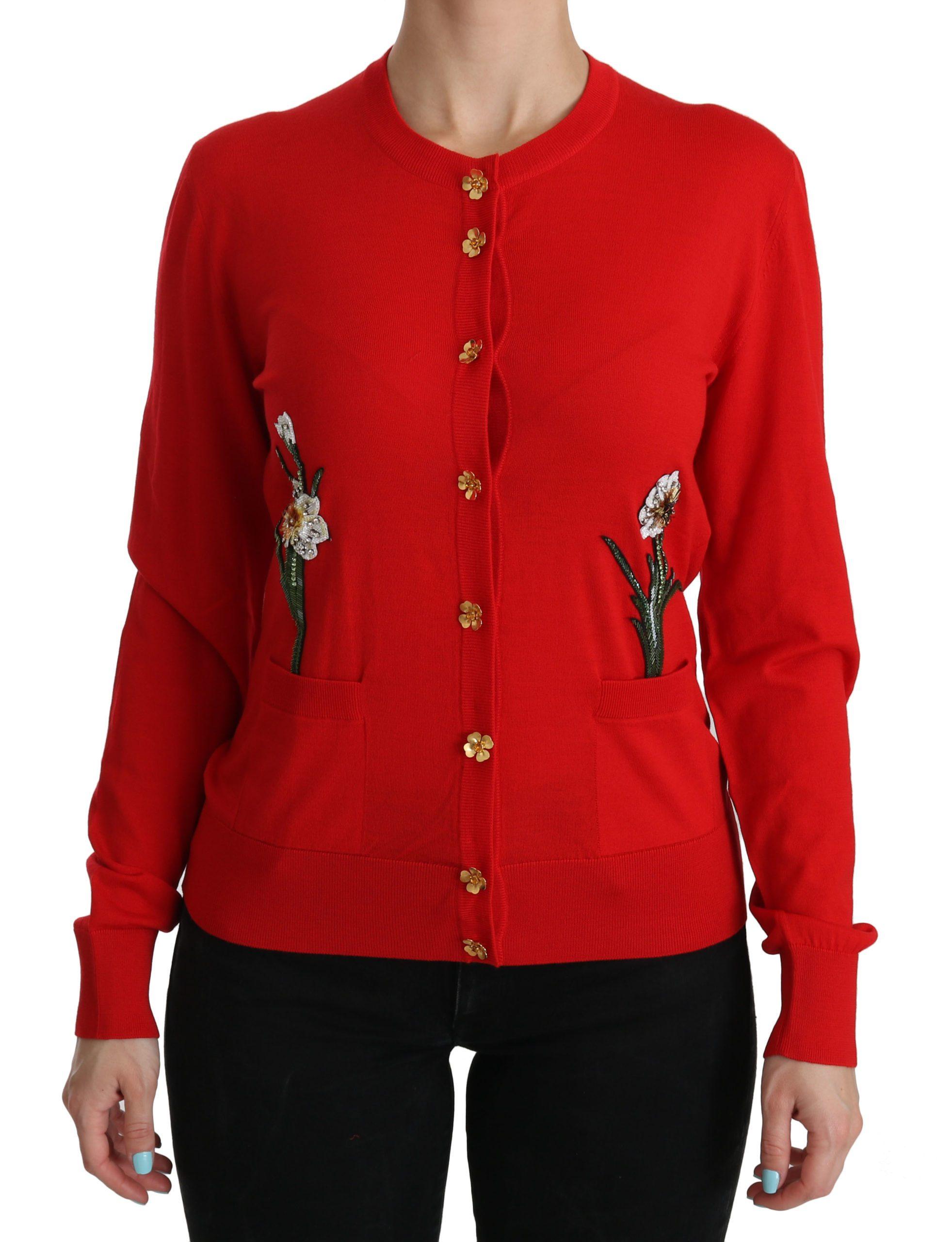 Dolce & Gabbana Women's Wool Crystal Floral Cardigan Red TSH3854 - IT40|S