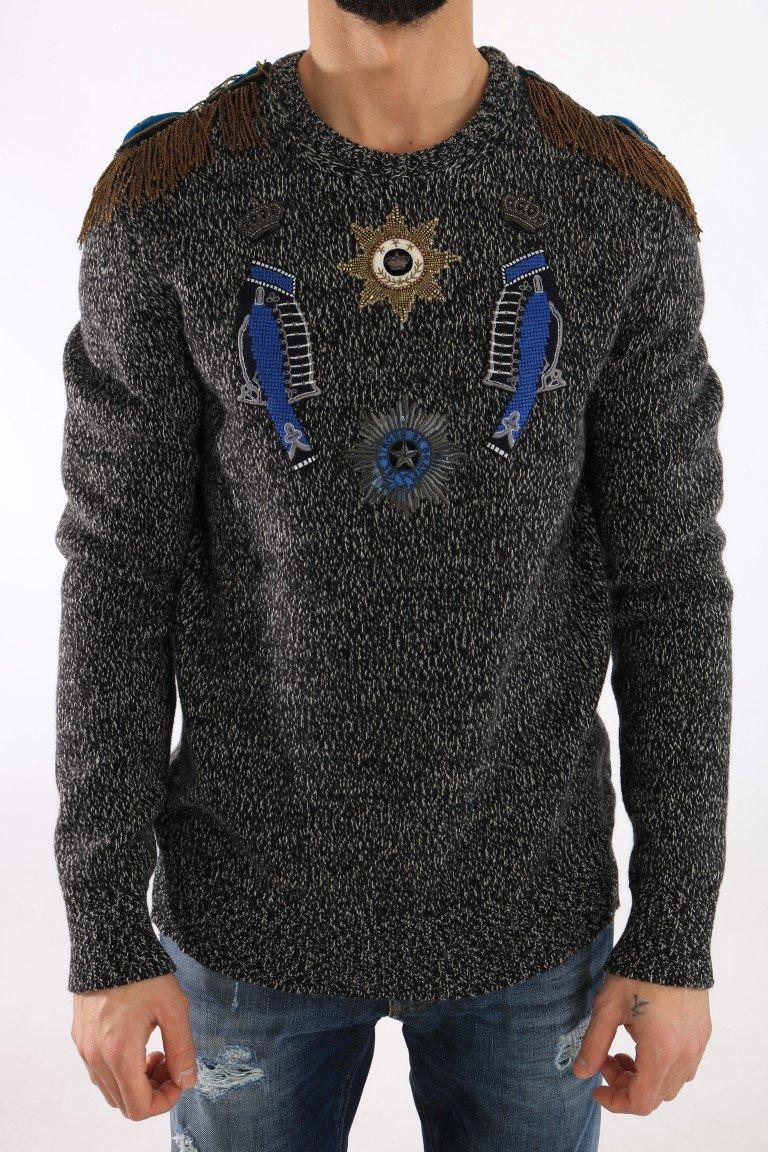 Dolce & Gabbana Men's Wool Cashmere Sweater Gray TSH1865 - IT52   XL