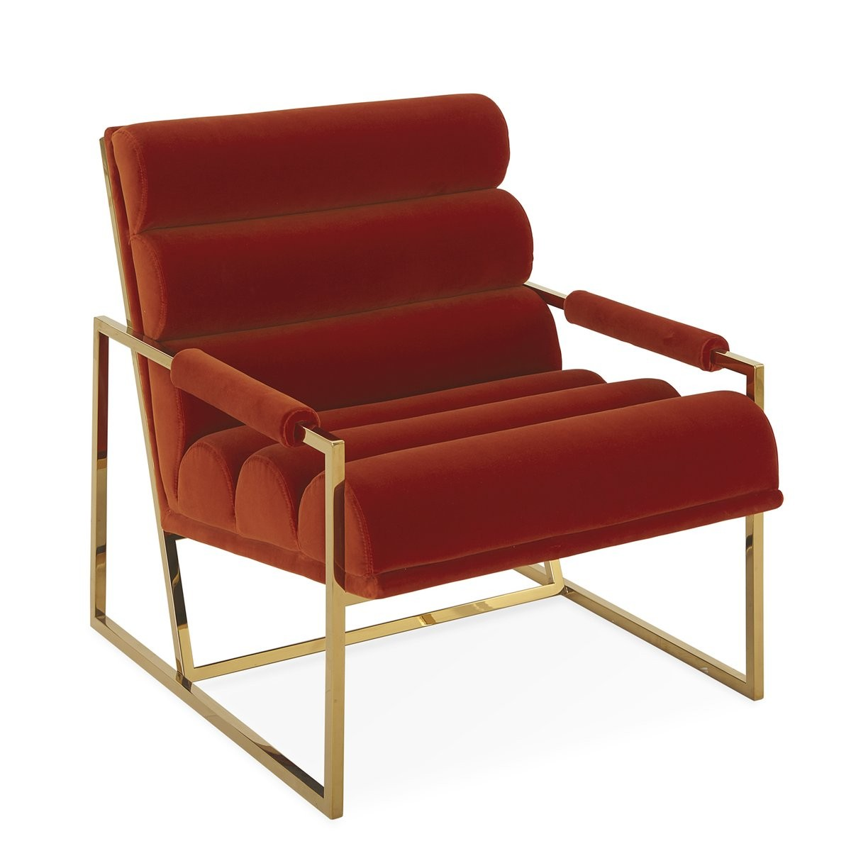 Jonathan Adler I Channeled Goldfinger Lounge Chair I Varese Persimmon