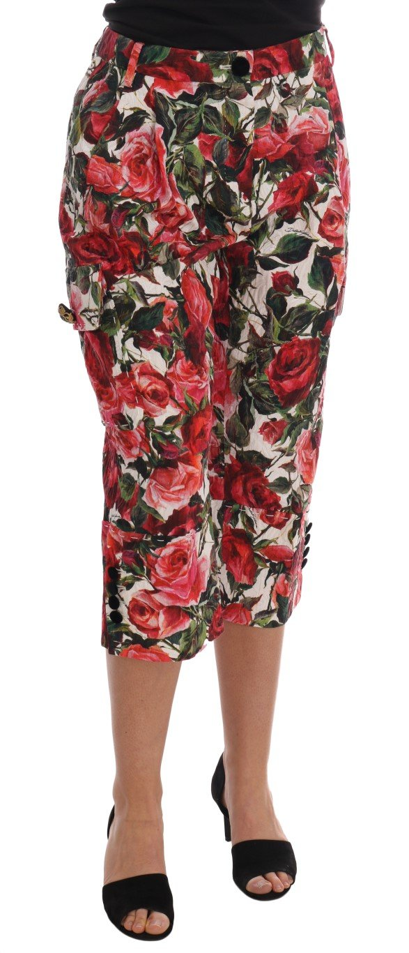 Dolce & Gabbana Women's Roses Print Brocade Capri Trouser Multicolor PAN60793 - IT40|S