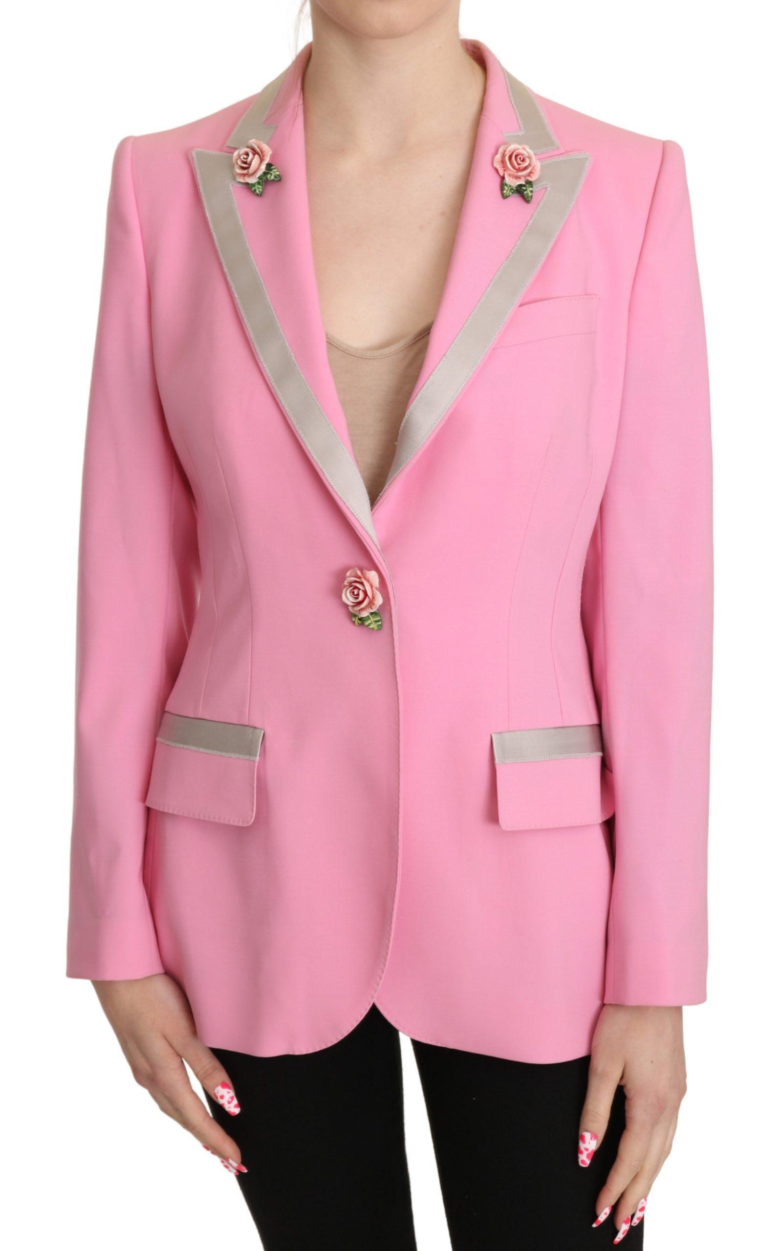 Dolce & Gabbana Women's Roses Single Breasted Jacket Pink KOS1817 - IT42 M