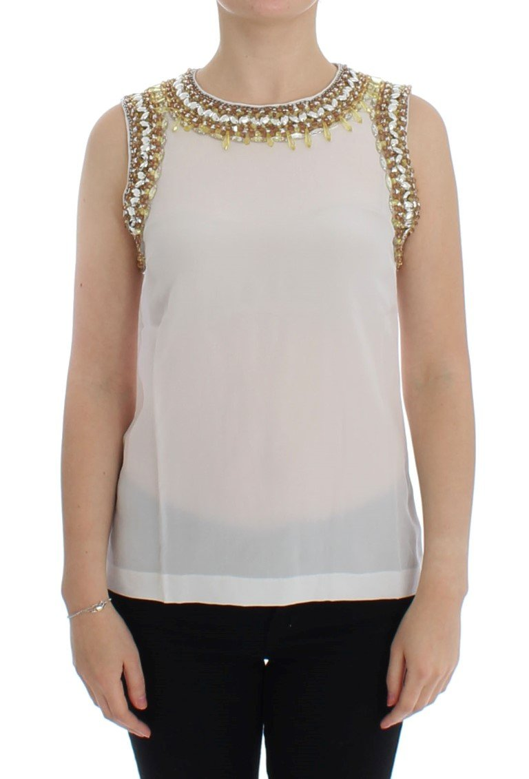 Dolce & Gabbana Women's Crystal Embellished Top White SIG13303 - IT40|S