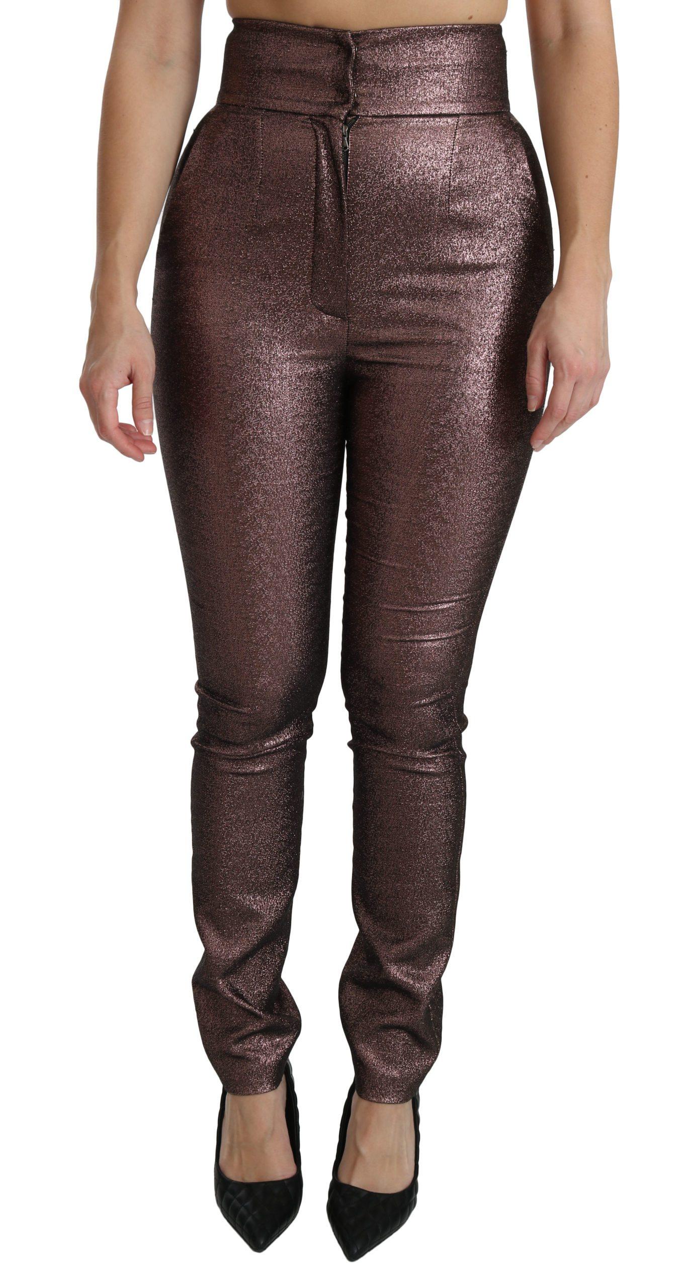 Dolce & Gabbana Women's Metallic High Waist Skinny Cotton Trouser Purple PAN70874 - IT40 S