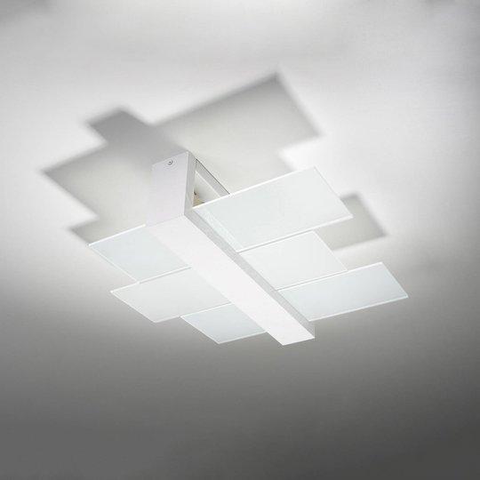 Taklampe Shifted 2, glass, hvit