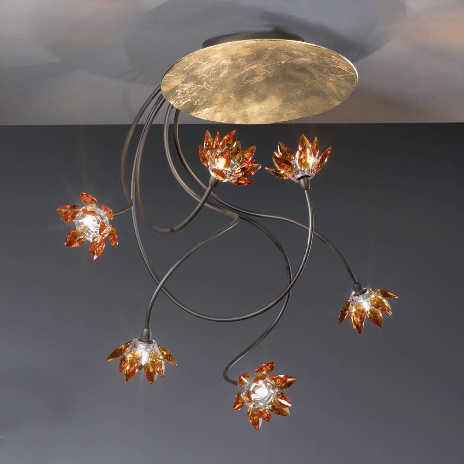 Blomstret FIORELLA taklampe med seks lys i ambra