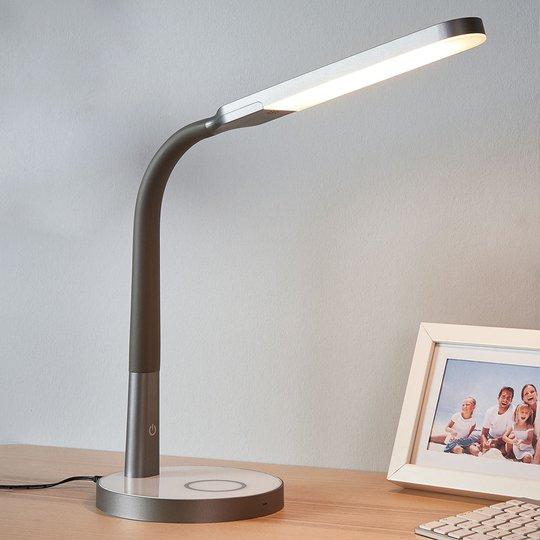 Maily grå LED-skrivebordslampe, USB og dimmer