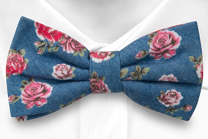 Bomull Sløyfer Knyttede, Denimblått med røde og rosa roser, Blå, Blomster