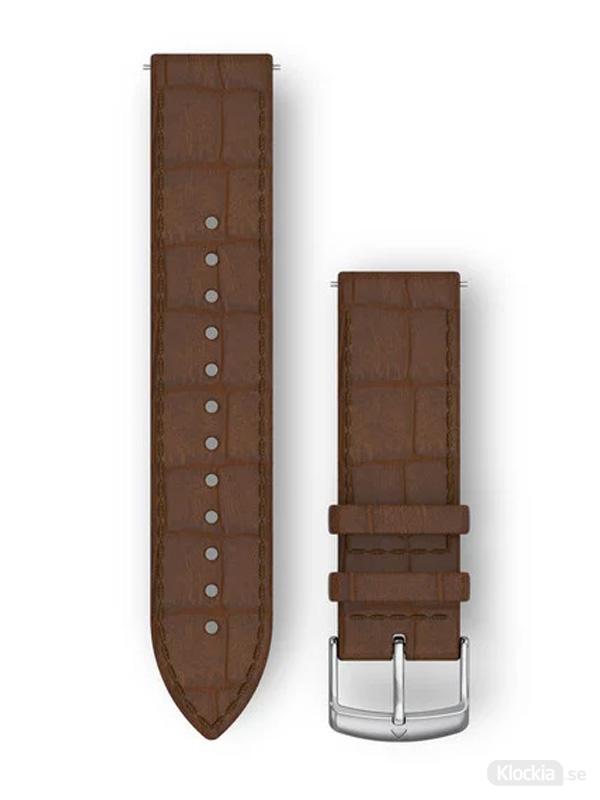 Garmin 20mm Dark Brown Embossed Italian Leather with Silver Hardware