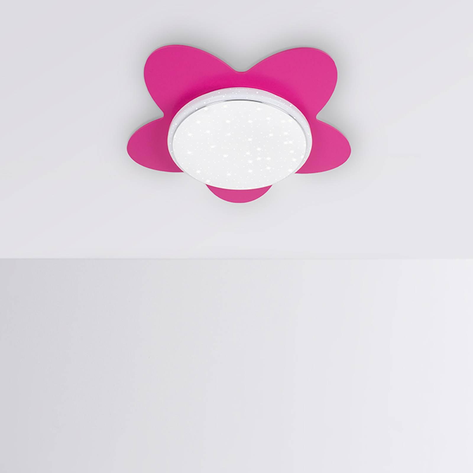 LED-taklampe blomst Starlight, rosa