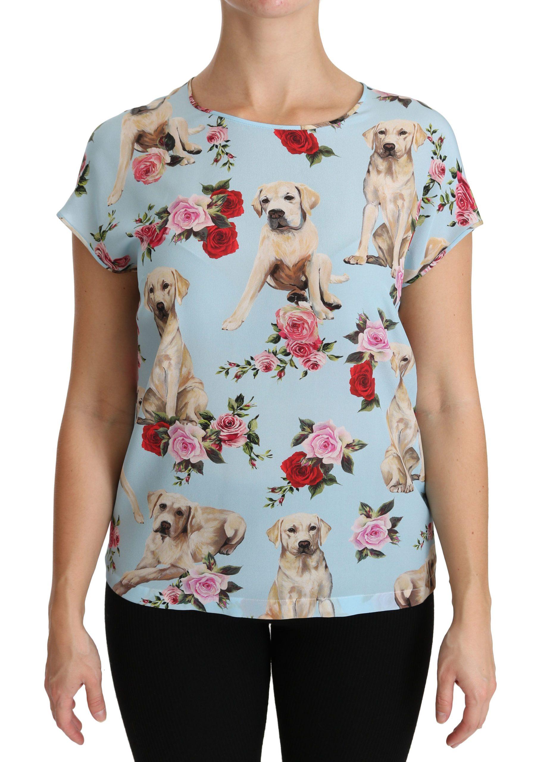 Dolce & Gabbana Women's Silk Short sleeve Tops Blue TSH4299 - IT40|S