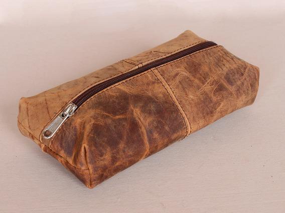 Leather School Pencil Case Brown