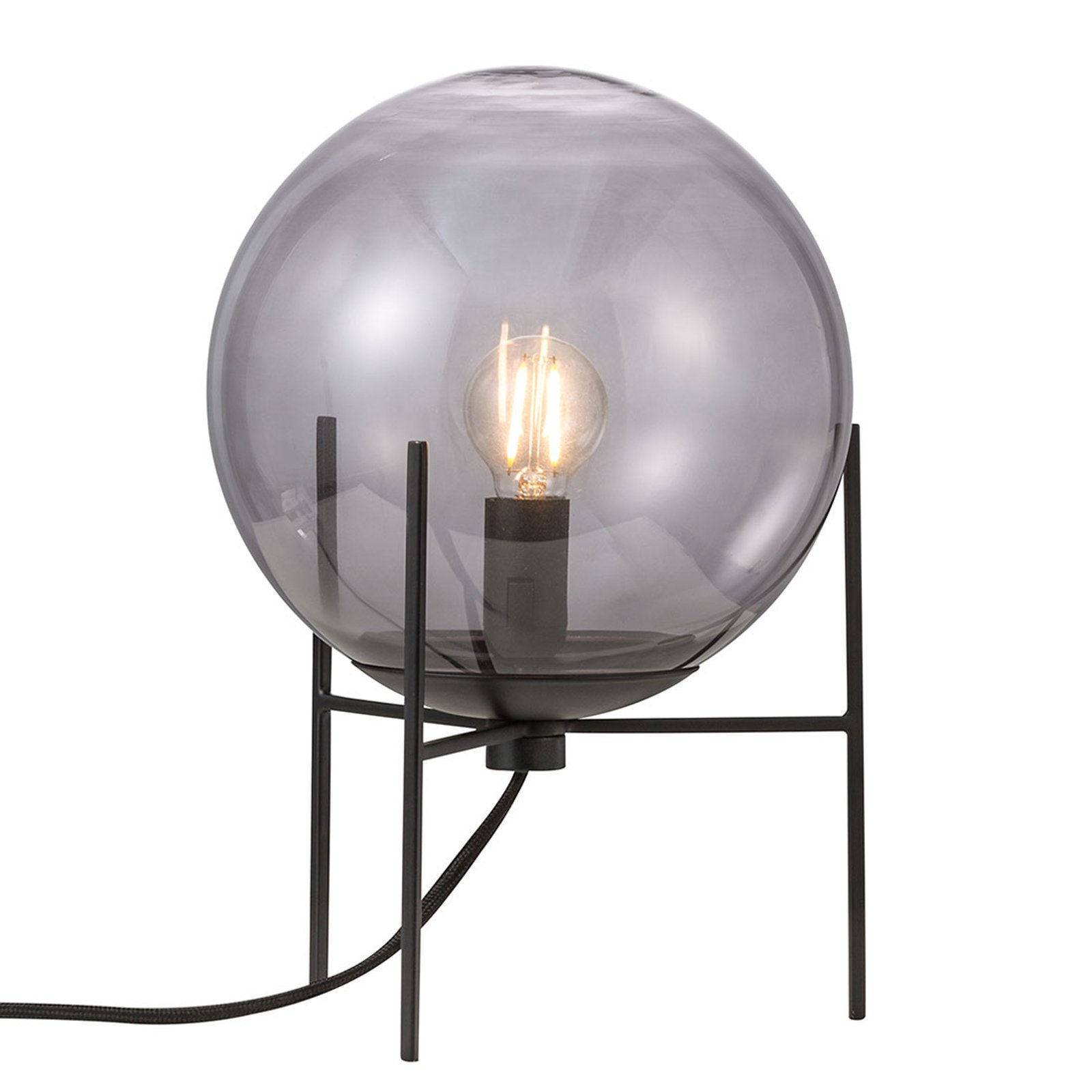 Bordlampe Alton med røykgrå glasskjerm